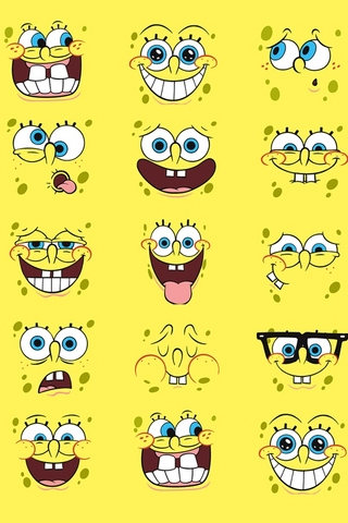 Spongebob Faces iPod Touch Wallpaper